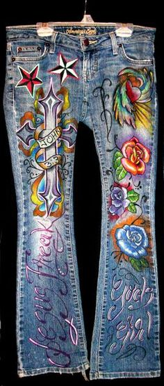 Inspiration! I could do this!  I found 'Custom jeans roses,flowers,heart,wings, star,tattoo,wearable art,women,girls,youth,kids,unique,gift)' on Wish, check it out!