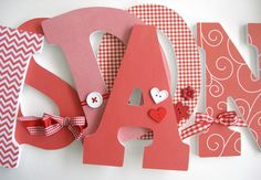 Custom Decorated Wooden Letters RED Theme Kitchen by LetterLuxe