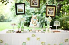 This is a wedding reception idea that I think could be re-worked for a baby shower. The pinwheels are so playful and photos of the mommy and daddy to be could be displayed in the picture frames.