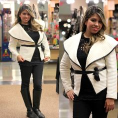 Make a Fashion Statement this Fall/Winter With Our Fashion Quilt Asymmetric Jacket in Ivory - Andreas Boutique #ootd #ootn #outerwear