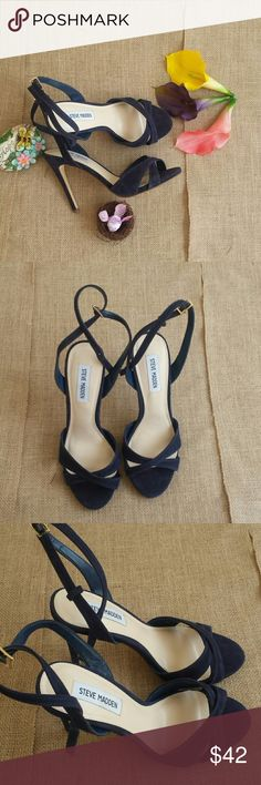 NWOB Steve Madden Blue Suede Heels This strappy sandal is great for any occasion. They have an adjustable strap with a gold buckle. New without box or tags. Steve Madden Shoes Heels