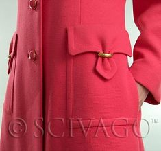 Vintage Pink Princess-cut Wool Coat with Stylish Golden Hardware on Pockets. The…