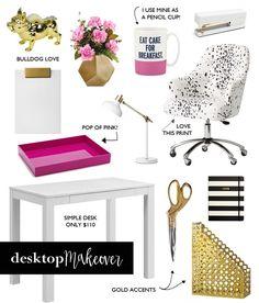 Desktop Makeover, white desk, home office, office accessories, gold office, gold, gold scissors, kate spade, threshold, stapler