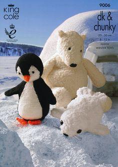 Penguin polar bear and seal knitted toys/Knitting plush toy/Crochet amigurumi/Knitting ebook/Crochet doll/knitted bear/Knitting penguin/seal Baby Knitting Patterns, Crochet Patterns, Knitting Ideas, Crochet Ideas, Black Teddy Bear, Knitting Wool, Double Knitting, Free Knitting, Wool Yarn