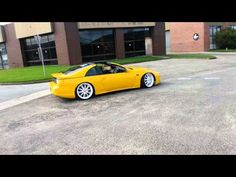 yellow nissan 300zx with 20inch white rims lowered bodykits custom bonnet - YouTube