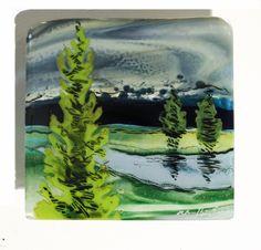 Evergreen by Alice Benvie Gebhart (Art Glass Wall Sculpture) x Slumped Glass, Sandblasted Glass, Fused Glass Art, Glass Wall Art, Stained Glass, Landscape Glass, Melting Glass, Glass Fusing Projects, Fire Glass