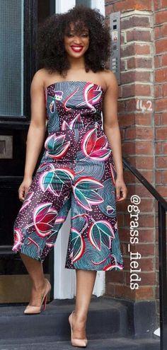 ♡The Maasai Jumpsuit www.grass-fields.com ~African fashion, Ankara, kitenge, African women dresses, African prints, Braids, Nigerian wedding, Ghanaian fashion, African wedding ~DKK