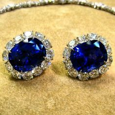 A pair of exceptional sapphire and diamond earrings. Over 30 carats of Ceylon sapphires