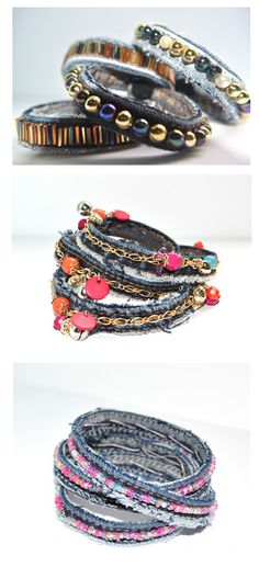 Bracelets from seams of old jeans.