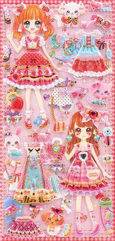 Japanese kawaii girls dress up doll puffy sponge stickers 'ribbon & animal' - Cute Stickers - Sticker - Stationery - kawaii shop modeS4u