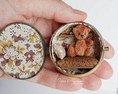 Crochet Stuff Bears Hidden house - buy or order in an online shop on Livemaster - Cheboksary Mini Teddy Bears, Hidden House, Tiny Teddies, Diy Cadeau, Tin Art, Altered Tins, Altoids Tins, Miniture Things, Miniature Dolls