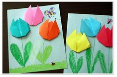 OT Activity of the Week: Simple Origami Tulips Springtime Fine Motor/ Craft  - Pinned by @PediaStaff – Please Visit  ht.ly/63sNt for all our pediatric therapy pins
