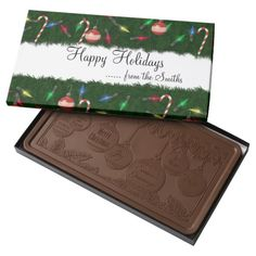 Christmas Tree 2 Pound Milk Chocolate Bar Box .........This design features Christmas Tree with Happy Holidays as a greeting along with your name or family name. You can customize the saying and name to your own by filling in the TEXT boxes. Give this to a neighbor, friend or family member this holiday season.
