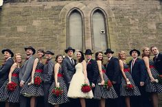 1950s American Gangster Themed Wedding | Love the polka dots and gangster hats! (Assassynation Photography)