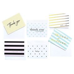 Embellished Thank You - 36 Thank You Cards - 6 Designs - Blank Cards - Gray Envelopes Included
