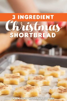 """I do love a good shortbread at Christmas time. And shortbread makes a really great food gift too for Grandparents and neighbours. This recipe only has three ingredients and is so simple, even the kids could make it. Christmas Food Gifts, Christmas Cooking, Christmas Desserts, Christmas Time, Xmas, Christmas Recipes, Christmas Ideas, Holiday, 3 Ingredient Cookies"