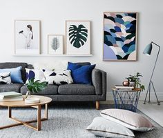 artistic blue and grey living room