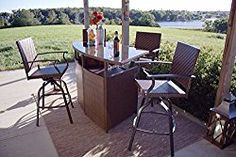 Palmerton Landing Outdoor 5-Piece Bar Height Patio Dining Set, Seats 4