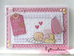 Handmade card by DT member Marleen with Collectables Eline's Baby Animals (COL1422), Design Folder Sweet Hearts (DF3432), Craftables Labels XL & Labels XS (CR1353), Basic Stitch Passepartout Rectangle (CR1390) from Marianne Design
