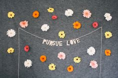 paper decor banner PURSUE LOVE - handmade hanging sign wall decor wall hanging inspirational sign interior decor home design by everglowhandmade
