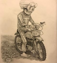 "2,506 Likes, 25 Comments - Matt Gordon (@mattgordon_paintings) on Instagram: ""Pinched at the Jelly Pits~ graphite in moleskine #drawing #motocross #motorcycle #flattire This one…"""
