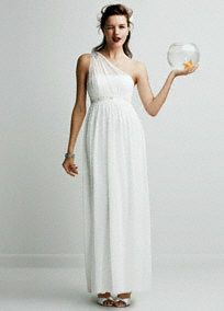 Charming but sophisticated, this long soft one shoulder mesh stunner is the perfect wedding dress for fall! Intricately beaded waist provides the ideal amount of dazzling drama. Embellishment on shoulder is right on trend. Available in White. Fully lined. Side Zip. 100% polyester, woven stretch/mesh fabric blend. Dry Clean Only.