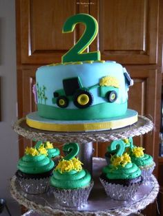 John Deere themed birthday cake and cupcakes - and it's even for a 2 year old!