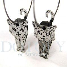 3D Kitty Cat Animal Hoop Dangle Earrings in Silver $10 #kittens #cats #animals #jewelry #earrings