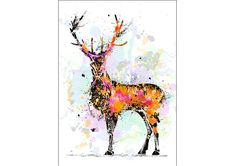 Stag painting. Deer, Moose. ART PRINT. Watercolour art. Home decor #Impressionist