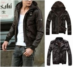 Men's PU Leather Removable Hoodie Jacket $49.95