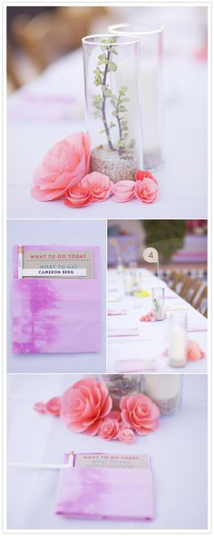 These centerpieces are it! Paper flowers + sand + candles, everything I've been looking for. Simple Table Decorations, Simple Centerpieces, Wedding Table Centerpieces, Wedding Decorations, Craft Wedding, Cute Wedding Ideas, Wedding Blog, Our Wedding, Wedding Goals