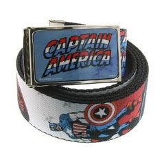 Captain America Classic Written Logo Comic Tile Art Wraparound Graphic Belt - entire belt covered in graphic! - the first and most patriotic Avenger!