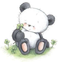 panda with 4-leaf clover