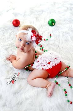 Christmas Set Chiffon Ruffle Bum Baby Bloomers and by my2lilpixies, $18.95