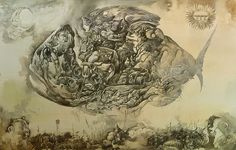 """Yuri Laptev - """"Neopagan Fish Over the Sleeping City"""""""