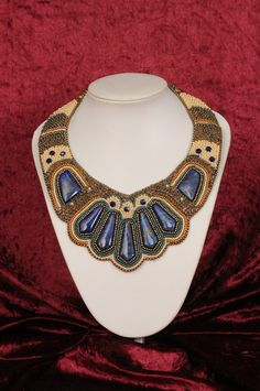 Lapis Beaded Artwork Neckpiece. $485.00, via Etsy.