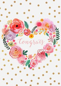 Margaret Berg Art: Pink+Blooms+Heart+Wreath+Congrats