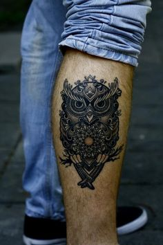 cool owl tattoos for men leg #31