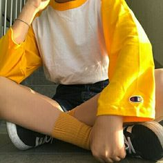 Yellow Champion T-shirt and sneakers!!!