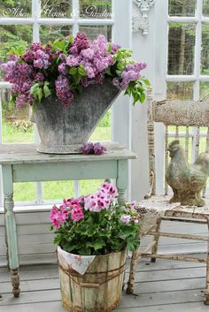 Old Shabby Garden Grub Containers...stuffed with fresh flowers...Aiken House & Gardens.