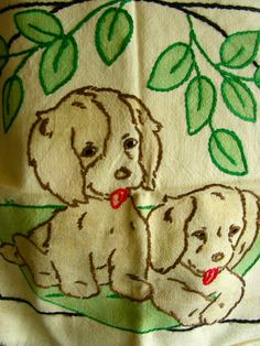 1930's-40's Embroidered Pillow case cover Labrador Puppy Dogs PILLOW Cover Tinted Linen Pre-worked Hand Embroidery.. on Etsy, $35.00