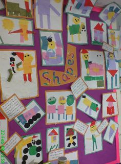 A super Shapes classroom display photo contribution. Great ideas for your classroom! Preschool Displays, Teaching Displays, Maths Display, 2d Shapes Activities, Teaching Shapes, Eyfs Activities, Space Activities, Display Ideas Nursery, Nursery Display Boards