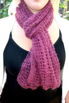 Cassia Scarf Pattern by Kittyboo Crochet  Yarn: Crystal Palace Kid Merino (25g) in Berry x 3 or substitute with approx. 700 yards of any laceweight yarn. Hook: 4.00mm Note: The first half of the ...