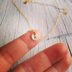 14Kt Gold Initial Necklace - Tiny 14Kt Gold Initial Necklace - Any time Necklace - Monogram Necklace, Bridesmaid Gift, Personalized Gift by cocowagner on Etsy https://www.etsy.com/listing/175233520/14kt-gold-initial-necklace-tiny-14kt