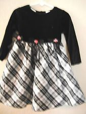 girl CHRISTMAS DRESS size 2T LITTY BITTY black white PLAID velvet top BOWS NICE!