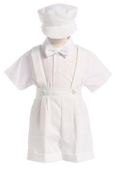 3df59e78348d9 Boys White Baptism Suspender Shorts Set w. Newsboy Cap 850C Boy Christening  Outfit, Baby