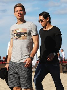 They have actual models even though they're just casually strolling around at the beach Ron-Robert ZIeler and Mesut Ozil. | 54 Reasons The German World Cup Team Might Actually Be The Hottest World Cup Team
