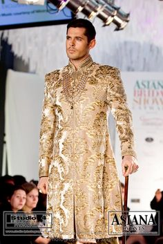Asiana Bridal Show 2012 Desi Wedding, Wedding Suits, Wedding Attire, Wedding Wear, Wedding Dress, Sherwani Groom, Wedding Sherwani, Mens Sherwani, Groom Outfit