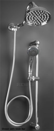 "6"" Beacon Rain Shower Head With Hand Held - Slide Arm Available  On Line RE Williams $165.00    (Included 69"" hose) buy valve separate  Need 6-8 foot hand shower hose?"