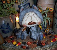 "Primitive Halloween Vampire Dracula Bat 7"" Doll Vtg Patti's Ratties Bear OOAK"